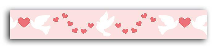 Papier - MT116 Washi páska srdcia holuby 10m - 7665487_