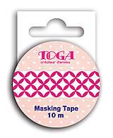 Papier - MT36 Washi páska 10m – Vzor Fuchsiová/biela - 7665534_