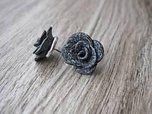 Náušnice - Sivé škvrnité ruže - napichovačky rhodium č.671 - 7665206_