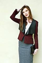 Kabáty - Bordové sako s mašľou - 7664973_