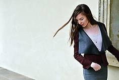 Kabáty - Bordové sako s mašľou - 7664976_
