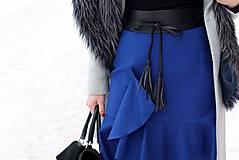 Sukne - Modrá sukňa s volánom - 7665214_