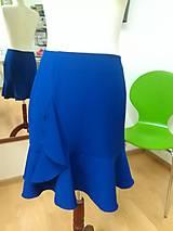 Sukne - Modrá sukňa s volánom - 7665216_