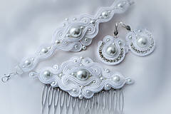 Sady šperkov - Svadobný set (náramok, hrebienok a náušnice) - 7667750_