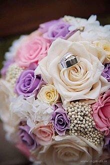 Kytice pre nevestu - Romantická svadobná kytica zo stabilizovaných kvetov - 7668531_