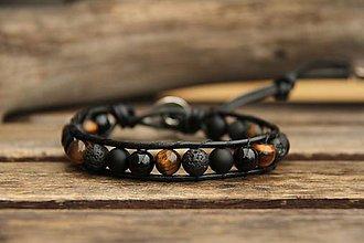 Šperky - Pánsky kožený náramok onyx, láva a tigrie oko - 7664990_