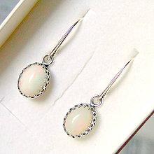 Náušnice - Natural Milky Ethiopian Opal Earrings Silver ag 925 / Strieborné náušnice s pravými opálmi - 7671880_