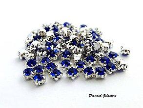 Galantéria - Ozdobné kamienky našívacie 4 mm - Modré - 7669564_