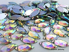 Galantéria - Ozdobné kamienky našívacie 7x15 mm - AB Crystal - 7669690_