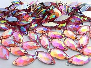 Galantéria - Ozdobné kamienky našívacie 7x15 mm - Ružové - 7669732_