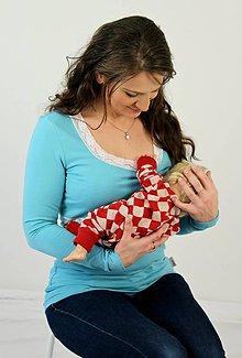 Tehotenské oblečenie - Dojčiace tričko 3v1 dl. rukáv, s čipkou - 7669772_