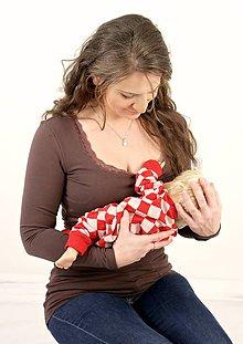 Tehotenské oblečenie - Dojčiace tričko 3v1 dl. rukáv, s čipkou - 7669817_