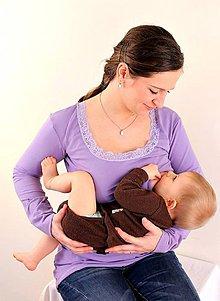 Tehotenské oblečenie - Dojčiace tričko 3v1 dl. rukáv, s čipkou - 7669843_