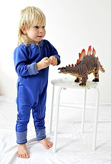 Detské oblečenie - TEPLÝ rastúci overal, bavlna - modrá (50-68cm (0-6m)) - 7671044_
