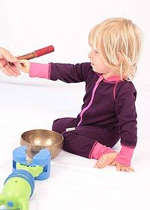 Detské oblečenie - TEPLÝ rastúci overal, bavlna - fialová - 7671894_