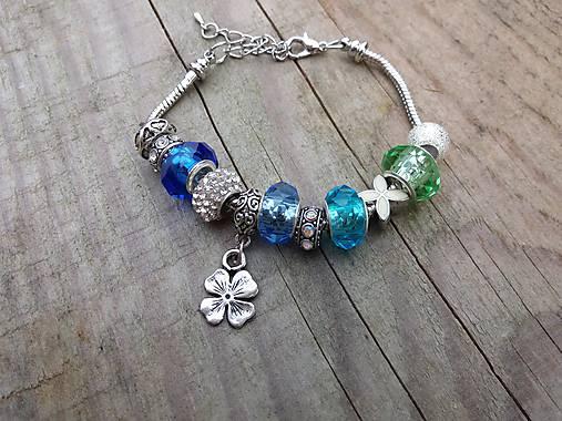 Pandora náramok modro zelený   Johnny7 - SAShE.sk - Handmade Náramky 842bea4cfba
