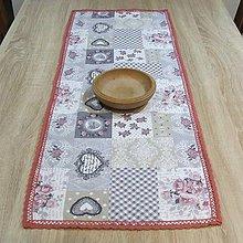Úžitkový textil - Srdiečkovo ružičková romantika - obrus obdĺžnik 98x38 - 7671929_