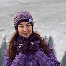 Čiapky - Fialový pletený set - čiapka, nákrčník, rukavice - 7671445_