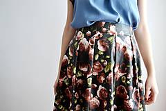 Sukne - Koženková sukňa plná ruží  - 7671506_