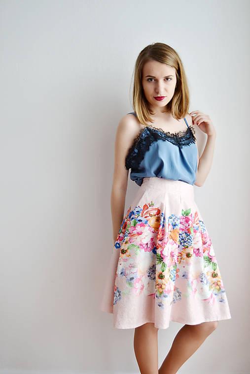 Sukne - Ružová kvetovaná sukňa - 7670456_