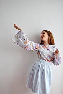 Iné oblečenie - OUTFIT – saténová sukienka + top so širokými rukávmi s abstraktnou potlačou - 7671284_
