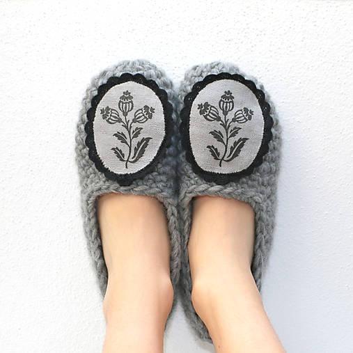 Obuv - Bio papučky Makovičky (100% ovčia vlna) - 7674259_