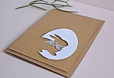 Papiernictvo - Pozdrav veľkonočný - zajačik s mašľou - 7673964_