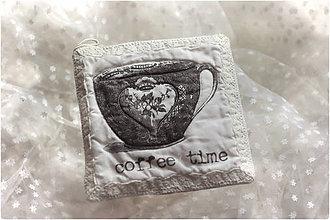 Úžitkový textil - podšálek podložka coffee lace - 7676070_