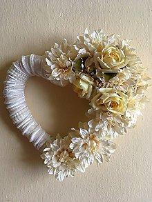 Dekorácie - Svadobné srdce - maslové - 7673519_