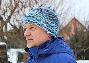 Doplnky - Pánska čiapka - modrý melír - 7676403_