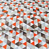 Textil - 100 % bavlna sivo-oranžové trojuholníky, šírka 160 cm, cena za 0,5 m - 7676716_