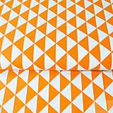 Textil - 100 % bavlna oranžové trojuholníky, šírka 160 cm, cena za 0,5 m - 7676732_