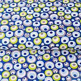 Textil - 100 % bavlna modré bublinky, šírka 160 cm, cena za 0,5 m - 7676804_