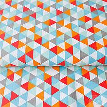 Textil - 100 % bavlna tyrkys.-oranžové trojuholníky, šírka 160 cm, cena za 0,5 m - 7676751_