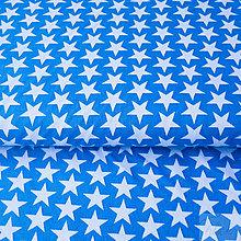Textil - 100 % bavlna petrolejové hviezdičky, šírka 160 cm, cena za 0,5 m - 7676845_