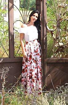 Sukne - Kruhová MAXI sukňa s červenými kvetmi - 7677511_