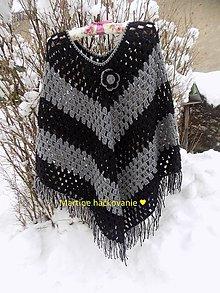Iné oblečenie - PONČO čierno sivé :) - 7673669_