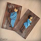 Tabuľky - Tabuľky na WC modré - muži/ženy (set 2 ks) - 7676189_