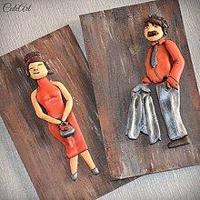 Tabuľky - Tabuľky na WC oranžové - muži/ženy (set 2 ks) - 7676288_
