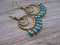 Náušnice - Zlato tyrkysové kruhy č.676 - 7675539_