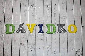 Detské doplnky - Textilné písmená DÁVIDKO - 7674211_