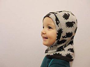 8db42204b Detské čiapky - Podšitá merino kukla hnedý ježko - veľkosť 44 - 7681755_