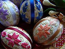 Dekorácie - vyšívané vajíčka, farebné - 7679725_