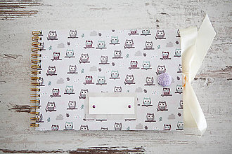 Papiernictvo - Sovičky - scrapbook album s mašľou - 7680678_