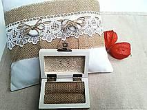 Prstene - Svadobná sada - vankúšik a krabička na prstienky - 7678340_