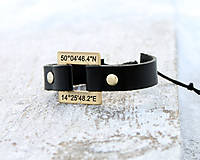 Šperky - Kožený náramok s textom na želanie LIAM - 7679901_