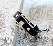 Šperky - Kožený náramok s textom na želanie LIAM - 7679902_
