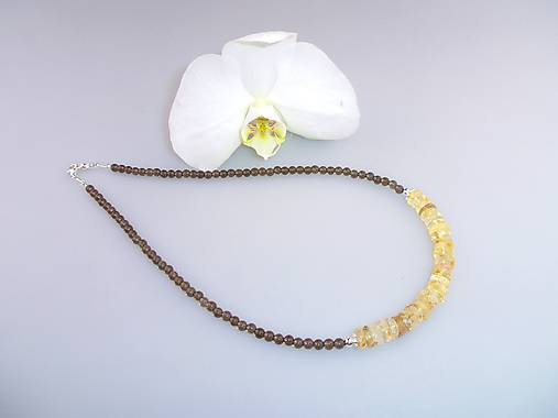 citrín záhneda a striebro náhrdelník