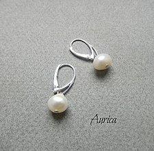 Náušnice - Strieborné náušnice s perlami - 7678329_