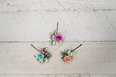 Ozdoby do vlasov - Set troch kvetinových sponiek